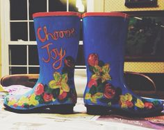 Hand painted rain boots.