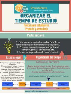 Infografía para aprender a organizar el tiempo de estudio. Para estudiantes de primaria y secundaria. www.orientanova.com