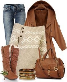 Pretty sweater, jeans, & jacket cold weather ensemble