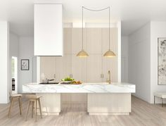Minimalist kitchen. Oddly enough I like the marble top.