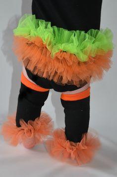 "Halloween Blk-Org Bunny Legs - Girls Ruffled Tutu Leg Warmers - Perfect for crawling baby to girls 3T Approx 6"" long. $10.99, via Etsy."