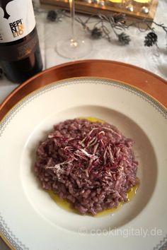 Rotwein Risotto. Ganzes Rezept auf www.cookingitaly.de