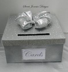 Silver Wedding Card Box Bling Mesh Ribbon Bridal by SweetJonesin, $75.00
