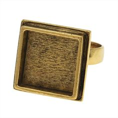 Nunn Design Adjustable Ring, 16mm Square, 1 Ring, Antiqued Gold Antique Rings, Antique Gold, Bezel Ring, Black Gold Jewelry, Ring Shapes, Uv Resin, Adjustable Ring, Gold Material, Gold Fashion