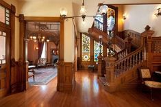 what kind of wood was used inside a victorian home - Google Search Victorian House Interiors, Victorian Decor, Victorian Homes, Victorian Stairs, Victorian Era, San Diego, Grand Staircase, Architecture Details, Victorian Architecture