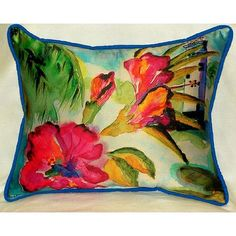 Betsy Drake Interiors Lighthouse and Florals Indoor/Outdoor Lumbar Pillow