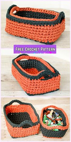 Crochet Storage Basket Nesting Rectangular Basket Free Pattern(I would switch the colors on the two baskets. All that orange on such a large basket is a bit too much for my taste, and the large dark section makes the smaller one seem even smaller to me. Crochet Storage, Crochet Box, Crochet Basket Pattern, Crochet Crafts, Crochet Yarn, Crochet Stitches, Crochet Projects, Crochet Patterns, Crochet Baskets