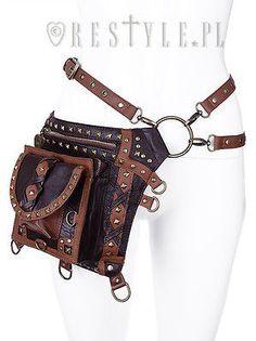 Restyle Brown Studded Holster Steampunk Victorian Punk Goth Emo Bag Satchel Belt