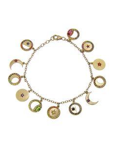 Phases of the Moon Charm Bracelet - Andrea Fohrman - Designers - Ylang 23 Vintage Charm Bracelet, Charm Jewelry, Jewelry Art, Beaded Jewelry, Vintage Jewelry, Jewelry Accessories, Jewelry Design, Jewellery Box, Charm Bracelets