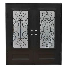"""BuildDirect – Exterior Wrought Iron Glass Doors Vine Collection – Black Right Hand Inswing/82""""x74""""/Flat Top - Multi View"""
