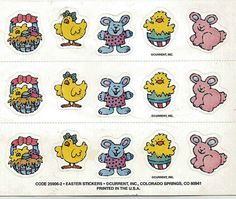 Stickers Vintage 3 sheets Current EASTER CHICKS & BUNNIES A1-19 #Current #Stickers