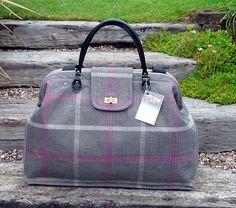 548eecaa9a00 Carpet Bag, Weekender Bag, Overnight Mary Poppins Bag, Grey & Pink Check  large bag