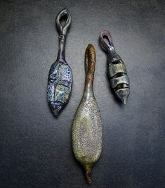 3 hollow pod pendants | by Claire Maunsell
