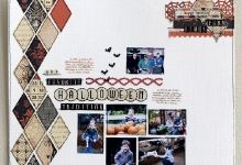 another layout with shapes of patterned paper-- could do this with diamonds, squares, or hexagons. good way to use the patterned paper without it being overwhelming. #scrapbooking #layout
