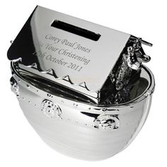 Our silver plated personalised Noah's Ark baby money box is engraved with your choice of words - a very popular Christening gift idea. Personalised Money Box, Personalised Christening Gifts, Personalized Baby Gifts, Baby Money Box, Kids Money Box, New Baby Gifts, Gifts For Kids, Noahs Ark Theme, Communion Gifts