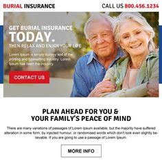 burial insurance call to action ppv landing page design Burial Insurance example