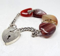 Antique / Victorian Sterling Silver Scottish Agate Charm Heart