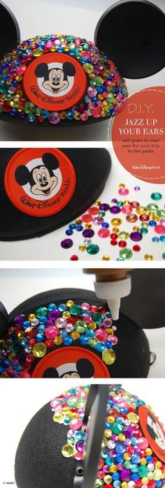 Jeweled Mickey Ears, I am so doing this! how cute! and I ordered mickey ears instead of Minnie ears, well... voilà!