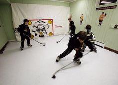 indoor hockey? oh, yeah Hockey Gear, Hockey Stuff, Hockey Mom, Ice Hockey, Hockey Party, Sports Party, Basement Storage, Basement Ideas, Outdoor Hockey Rink