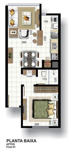 C2B imóveis e empreendimentos em Lajeado - Edificio Cristiano 115 Studio Type Apartment, Apartment Layout, Layouts Casa, House Layouts, Home Building Design, Building A House, Small House Floor Plans, Hotel Room Design, Sell My House