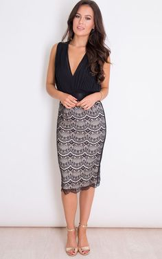 Looking for Bodycon Dresses? Call off the search with our Naomi Pleated Plunge Lace Bodycon Midi Dress Black. Shop unique fashion at SilkFred Black Midi Dress, Lace Fabric, Unique Fashion, Lace Skirt, Cocktail, Bodycon Dress, Clothes For Women, Formal Dresses, Vintage Sewing