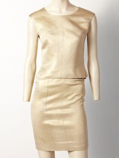 Coco Chanel Haute Couture Gold Lame 3 pc Suit   From a collection of rare vintage suits, outfits and ensembles at https://www.1stdibs.com/fashion/clothing/suits-outfits-ensembles/