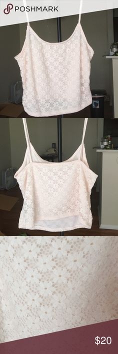 Light pink flower crop-top! LA Hearts, baby pink crop-top tank! Light & airy material! NEVER BEEN WORN!!! Perfect for spring & summer! L.A. Hearts Tops Crop Tops