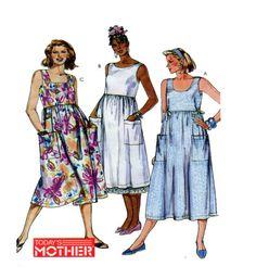 Maternity Dress Easy McCalls 4101 Comfortable Loose Fit Pullover Apron Style Dress/Jumper Neckline & Trim Options  Size 10-12-14 UNCUT by FindCraftyPatterns on Etsy