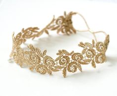 Gold Wild Rose Headband Flower Headwrap Rose headband Elastic headband Bridesmaid Gift  Elegant Lace Headband Wedding Hairband (gold) (11.00 USD) by MuseBell