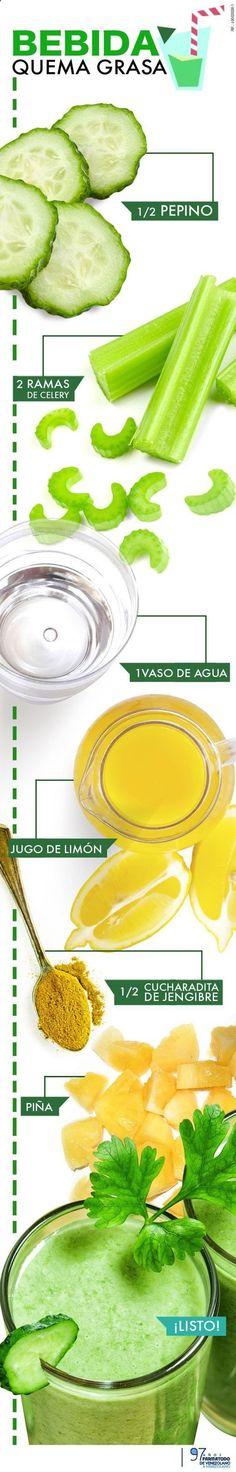 ¿Como preparar una bebida para perder peso? #perderpeso #infografía #jugosverdes: