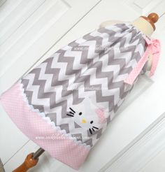 Hello Kitty Gray  Pink Chevron and Polka dot pillowcase dress, perfect for a birthday party