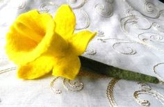 Yellow Welsh Daffodil Brooch Pin Hand Felted Flower Corsage St Davids Day £18.00