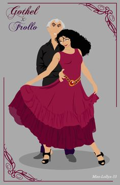 Mother Gothel and Judge Claude Frollo, a medieval tango. Namely, the Tango (lounge) is different from the Argentine tango. Disney Nerd, Disney Fan Art, Baby Disney, Disney Love, Disney Pixar, Disney Princess, Disney Stuff, Disney Crossovers, Disney Villains