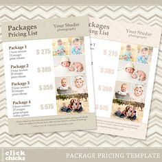 Photography Package Pricing List Template by ClickChicksDesigns Photography Price List, Wedding Photography Pricing, Photography Marketing, Photography Branding, Photography Business, Love Photography, Photography Studios, Photography Backdrops, Children Photography