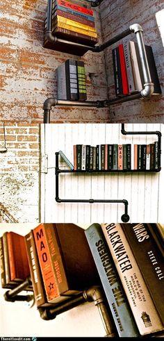 pipe book shelfs...love this idea!!