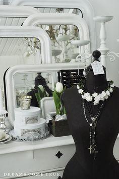 Shabby chic black dress form mannequin