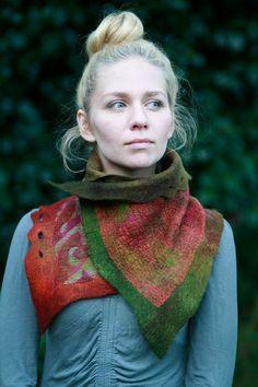 Nuno felted scarves - Felted Scarf - Felt Cowl - Two Way Om Fire Scarf