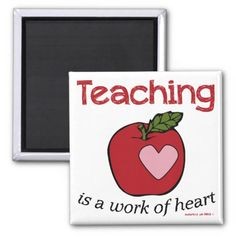 Teaching is a work of heart 2 inch square magnet