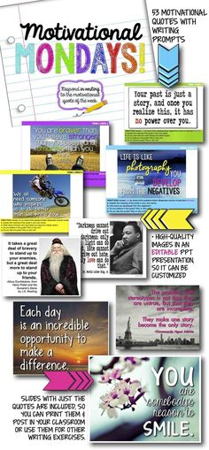 Weekly motivational growth mindset quotes with journal writing prompts (or use as discussion prompts) for teens. Completely editable file in Powerpoint, so you can customize it for your students. 50 prompts with engaging images. Journal Prompts For Teens, Writing Prompts For Writers, Writing Resources, Teacher Resources, Journal Topics, Monday Motivation Quotes, Monday Quotes, Weekly Motivational Quotes, Teaching Activities