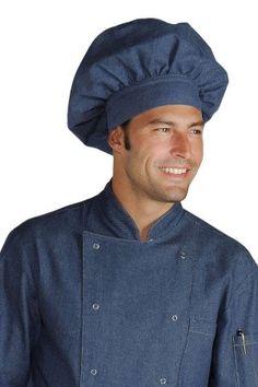 Cappello Da Cuoco Forma Classica In Jeans di Cotone
