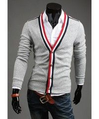 Grey Rich V-Neck Contrast Color All-Matched Men Slim Fitting Simple Autumn Cardigans In Wool Blend M/L/XL/XXL 1414-WY31-45g