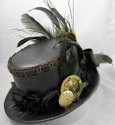 Mini Top Hat - Steampunk Clockwork Gear Victorian Time Travel Mesh Rose
