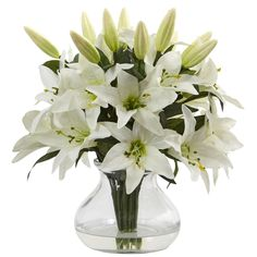 Nearly Natural White Faux Lily Arrangement With Clear Glass Vase (Lily)