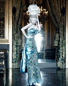 Dior Couture by Patrick Demarchelier. Peacock gown and Marie wig editorial.