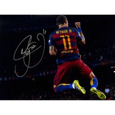 Neymar Jr Signed UCL 2015-16 UCL Final Goal with Trophy 12x16 Photo (Icons COA)