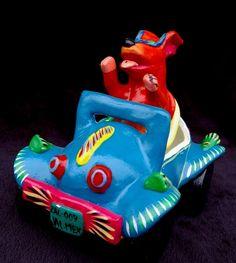 Ortega family sculpted ceramics, whimsicle, bright , folkart