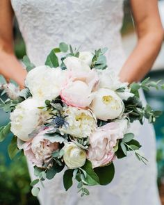 Memree carried a hand-tied bouquet by Enchanted Florist made up of white peonies, blush peonies, a touch of thistle, dusty miller, and a few small gray feathers. Spring Wedding Bouquets, Peony Bouquet Wedding, Spring Bouquet, Peonies Bouquet, Bride Bouquets, Bridal Flowers, Floral Wedding, Blush Peonies, White Peonies