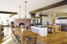 open kitchen onto dining space (Emerson Fry's N.H. home)