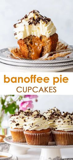 These banoffee pie cupcakes have it all – the moist banana cupcakes, the luscious caramel centre & the fluffiest of whipped cream frostings. Vegan Banoffee Pie, Banoffee Cake, Banoffee Recipe, Banana Dessert Recipes, Easy Cupcake Recipes, Simple Cupcake Recipe, Gluten Free Cupcake Recipe, Simple Cupcakes, Gluten Free Pie