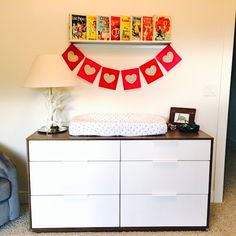 Project Nursery - Dresser with Vintage Oz Books and Heart Banner